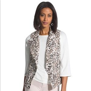Chico's Gold Shimmer Leopard Print Linen Vest